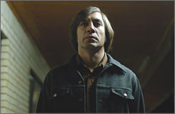 Javier Bardem plays a ruthless killer in No Country for Old Men.