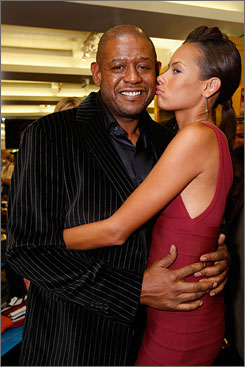 At the party: Forest Whitaker and his wife, Keisha, attend the backyard party at Grant Heslov?s house to benefit The International Rescue Committee's fundraiser for Darfur refugees.