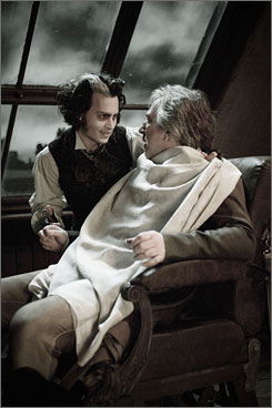 Sweeney Todd: Johnny Depp, left, and Alan Rickman won't be seen by Oscar voters until Dec. 21.