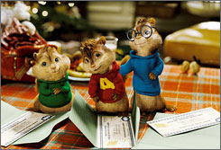 Resurfaced:  Theodore  (voiced by Jesse  McCartney),  left, Alvin (Justin  Long) and Simon  (Matthew  Gray Gubler),  originally from a  1960s cartoon.