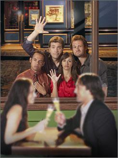 Something about Farrellys: Shaun Majumder, left, Craig Bierko, Rashida Jones and Johnny Sneed.
