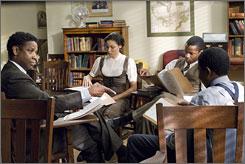 Studying for a showdown: Denzel Washington preps Jurnee Smollett, Nate Parker and Denzel Whitaker.