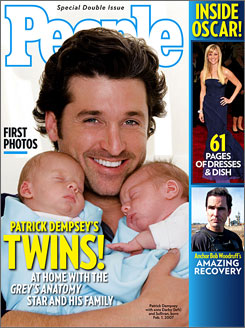 """A feeding frenzy"":  That's what Patrick  Dempsey was trying  to avoid by posing with  his twins Sullivan and Darby."