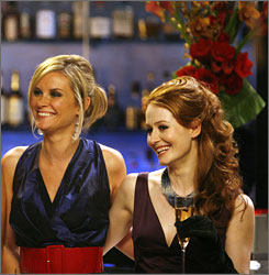 Girl power: Bonnie Somerville, left, and Miranda Otto play business school friends.