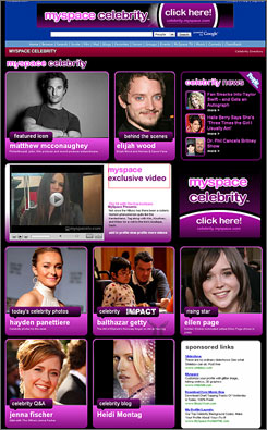 High-profile friends: MySpace's Celebrity Channel will put many stars within reach.