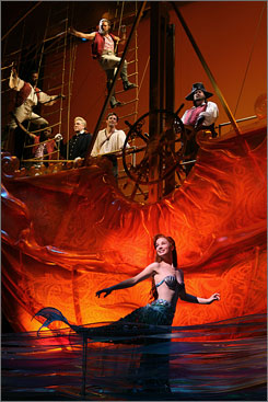 Making a splash: Sierra Boggess is the mermaid Ariel in the Broadway version of Disney's popular animated film. It's now playing in Manhattan at the Lunt-Fontanne Theatre.