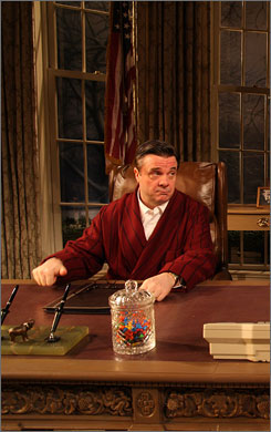 On Broadway: Nathan Lane plays a sitting  president whose popularity is plummeting in November.