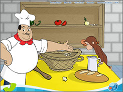 A pinch of math: In one game, kids help Curious George and Chef Pisghetti match pizza ingredients.