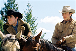 Ledger, right (with Jake Gyllenhaal), received an Academy Award nomination for his role as Ennis Del Mar in Brokeback Mountain.