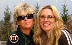 On TV: Farrah Fawcett, left, and friend Alana Stewart went to Germany for treatment.
