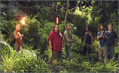 Survivors: Terry O'Quinn, left, Jorge Garcia, Josh Holloway, Naveen Andrews, Henry Ian Cusick and Sam Anderson face the past  and the future.