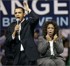Into the fray: Talk-show host Oprah Winfrey gave her first-ever political endorsement to Democratic presidential hopeful Barack Obama.
