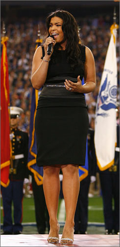 Reigning American Idol champ Jordin Sparks belts out the national anthem on one of the world's biggest stages, the Super Bowl.