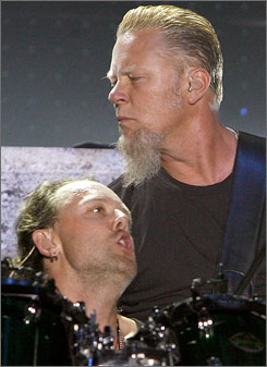 Metallica drummer Lars Ullrich, left, and frontman James Hetfield will bring the noise to Tennessee this summer.