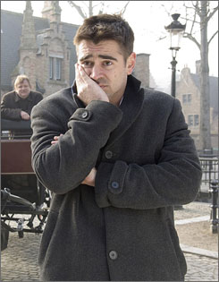 Learning  from his pain:  Colin Farrell  plays a conflicted  hit man in  In Bruges, out  Friday in limited  release.