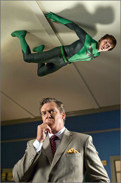 Sticky situation: The Dragonfly (Drake Bell) must thwart The Hourglass (Christopher McDonald).