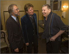 Rock royalty:  Recording  Academy  president Neil  Portnow, left,  chats with  John Fogerty  and Jerry Lee  Lewis.