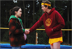 Michael Cera, right, and Ellen Page star in Juno. Diablo Cody won the original screenplay prize from the Writers Guild of America Awards.