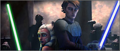 Story to tell: Animated Jedi Anakin Skywalker, right, fights alongside apprentice Ahsoka in Clone Wars.