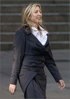 Heather Mills leaves the Royal Courts of Justice in central London, on February 18, 2008.