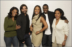 Sunny smiles: Audra McDonald, left, John Stamos, Sanaa Lathan, Sean Combs and Phylicia Rashad star in A Raisin in the Sun (ABC, Monday 8 ET/PT).