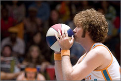 On the ball: Will Ferrell sports a 1970s-style Afro as a has-been singer and basketball player.