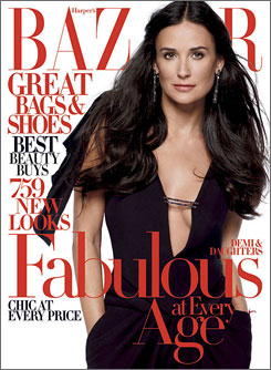 Moore opens up about her blended family in the latest issue of Bazaar.