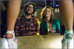 """Sweet and sexy"" comedy: Friends Zack (Seth Rogen) and Miri (Elizabeth Banks) fall for each other while making an X-rated movie to help pay their debts."