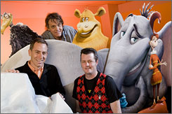 Horton's creatures: Chris Wedge, back, is co-founder of Blue Sky Studio. He enlisted co-directors Steve Martino, left, and Jimmy Hayward.