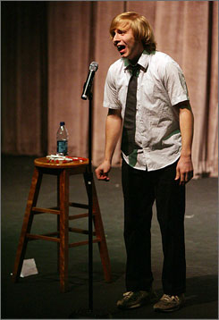 George Washington University student Travis Helwig is part of his school's comedy team.