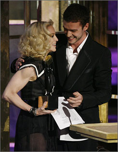 She's in: Madonna, 49, with Justin Timberlake, was the youngest inductee.