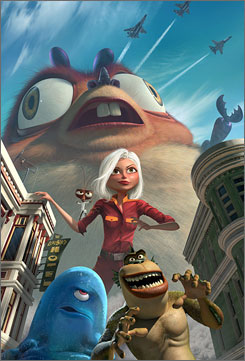 Tall as a hotel: Susan (Reese Witherspoon), toothy Insectosaurus, Dr. Cockroach, Missing Link and B.O.B.