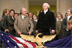 "Successor and predecessor: John Adams (Paul Giamatti, left) and George Washington (David Morse) in the seven-part  HBO miniseries. The nation's second president ""was at war with himself,"" Giamatti says. ""He was kind of a mess."""