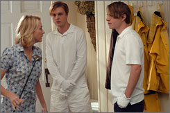 Present-day Droogs: Brady Corbet, right, and Michael Pitt terrorize Naomi Watts and family in Funny Games.
