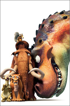 Ice Age: Dawn of the Dinosaurs: Sid the sloth, left, Diego the saber-toothed tiger, Manfred the woolly mammoth, the acorn-obsessed Scrat  and a dinosaur?