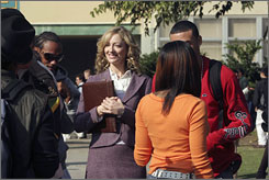 Back to school: Judy Greer stars as a guidance counselor who gets a job at her alma mater in the ABC sitcom, which premieres Tuesday. 