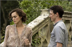 Dividing lie: Keira Knightley's sister accuses James McAvoy of a crime in Atonement.