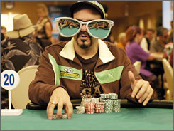 Eyes on the $10M prize: David Cross is one of six in poker game.