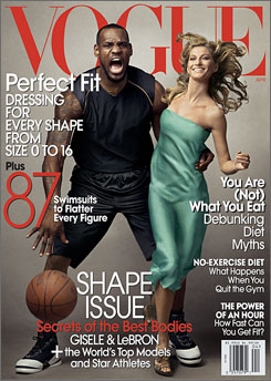 """We think Lebron James and Gisele Bundchen look beautiful together and we are honored to have them on the cover,"" Vogue spokesman Patrick O'Connell said in response to complaints."