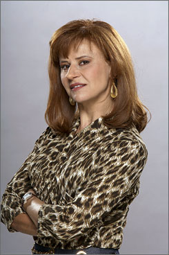   In character: Tracey Ullman as  blogger Arianna Huffington.    