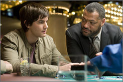 High roller: Jim Sturgess, left, with Laurence Fishburne, is a math whiz who counts cards in Vegas.