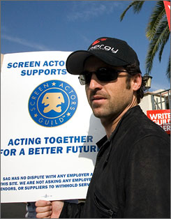 Grey's Anatomy doc Patrick Dempsey and other Screen Actors Guild members went on a sympathy strike when the writers picketed last fall; now it's the stars' turn to negotiate with the studios.