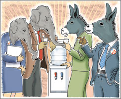 Water cooler discussions: Campaign is a hot topic.