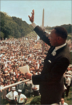 "Aug. 28, 1963: Martin Luther King Jr. greets a crowd of more than 250,000 for his ""I Have a Dream"" speech."