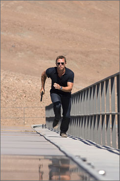 Desolate: Daniel Craig shoots a scene from Quantum of Solace in Chile.