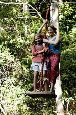 Zipping along: Nim (Abigail Breslin) and writer Alex (Jodie Foster).