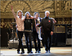 Every song they sing: Mick Jagger, left, Ronnie Wood, Keith Richards and Charlie Watts onstage at the Beacon Theatre.