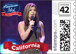Now on sale: Postage stamps featuring  first-season Idol winner Kelly Clarkson can  be acquired through photo.stamps.com.