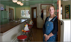 Multipurpose fun: Author and illustrator Sandra Boynton has built a replica of a diner in the space she uses as a conference room and clubhouse at her home.