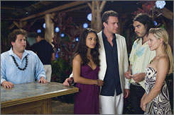 Welcome to Hawaii: Jonah Hill, left, Mila Kunis, Jason Segel, Russell Brand and Kristen Bell.
